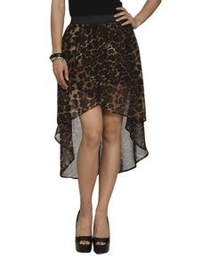 Leopard Chiffon High-Low Skirt $19.90