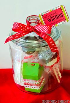 Hot chocolate in a jar...the jar by itself would make such a cute gift!