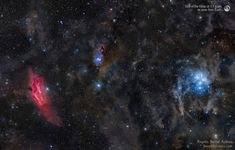 At the far right, the famous Pleiades star cluster is some 400 light-years distant and around 15 light-years across.