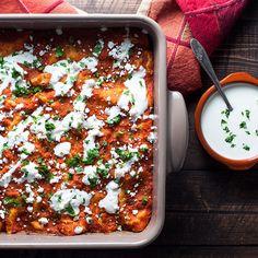 "Healthy, gluten-free enchiladas with ""meaty"" mushroom filling (easily vegan)"