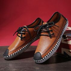 2015 new hot selling fashion sneakers for men summer breathable cut out hollow lace up shoes genuine leather flats Casual Sneakers, Sneakers Fashion, Casual Shoes, Boat Shoes, Men's Shoes, Dress Shoes, Kicks Shoes, Men's Backpack, Well Dressed Men
