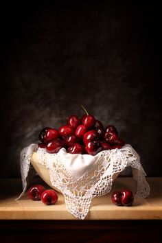 "Cecilia Gilabert, ""Still life on cherries and lace edging"" #food #red"