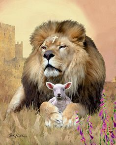 Lion with cross on his head and Lamb. Lion of Judah prophetic art. Bible Pictures, Jesus Pictures, Image Jesus, Lion And Lamb, Religion, Lion Wallpaper, Tribe Of Judah, Prophetic Art, Hawaiian Tattoo