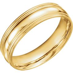 14K Yellow 6mm Coin Edge Design Band Size 11