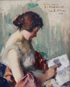 "Ivan G. Olinsky (Russian-born American artist, 1878-1962) - ""Woman Reading"" - Oil on panel, 1918"