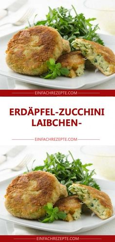 Erdäpfel-Zucchini-Laibchen Zucchini, Muffin, Veggies, Food And Drink, Low Carb, Meat, Chicken, Vegetarian Recipes, Chef Recipes