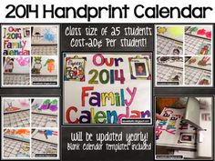 #3 Top Seller on TPT! Handprint Calendar Gift using Melonheadz graphics. This product will be updated year after year. If you have 25 students this will literally cost you 20 cents per student!!!