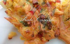 Mini tortilhas de bacalhau e camarão com pimentos vermelhos da horta na Actifry