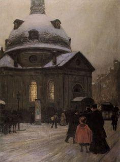 Bohemian Church on Christmas Eve, Franz Skarbina