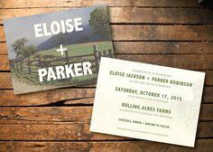 Farm illustration wedding invitation printable by BLoeschCreative