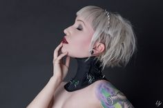 Underwater Love Iridescent Spiked Steel Boned Neck Corset Posture Collar (110.00 GBP) by GoreCouture