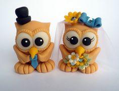 Love birds owl wedding cake topper  something blue by PerlillaPets, $52.00