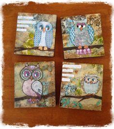 Mixed media owl series on board  FB Angeladavisdesigns