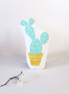 Prickly Pear Cactus Pillow. Hand Woodblock Printed. Choose ANY Color. Made to Order.