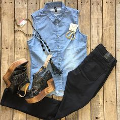 """#NEWARRIVALS  #Denim #Top $24.99 S-L #FlyingMonkey #SkinnyJeans $46.99 24, 25, 27-30 #BedStu #Petra #Wedges $152.99 9-10, 11 #PinkPanache #Necklace $76.99 & #Earrings $28.99 We #ship! Call to order! 903.322.4316 #shopdcs #instagood #instashop #love #style"" Photo taken by @daviscountrystore on Instagram, pinned via the InstaPin iOS App! http://www.instapinapp.com (09/10/2015)"