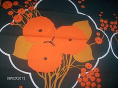 Tampella Finland Fabric Orange Flowers on The Dark Green Vintage Orig | eBay