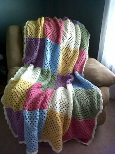 Spring Patchwork Granny Square Afghan by SnugableTouches on Etsy