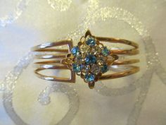 Vintage Cuff Bracelet with Aqua Blue and White by Lavendergems, $14.00 #TeamLove #vintage #jewelry #Fashion #etsyretwt