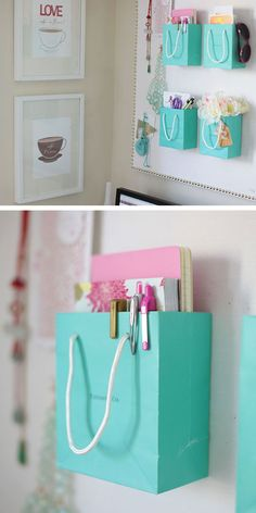 Organize your Bedroom with Shopping Bags | Click Pic for 25 Simple Life Hacks Every Girl Should Know | Household Tips and Tricks for Life