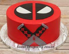 Deadpool Cake, not a bad idea! Deadpool Cake, Deadpool Kawaii, Deadpool Facts, Deadpool Tattoo, Lady Deadpool, Pool Birthday Cakes, Birthday Star, Marvel Cake, Batman Cakes