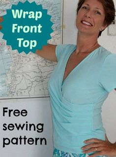 Free sewing pattern for a great wrap top. Also includes a video tutorial. Sizes 32-44 bust. No gaping, perfect wrap top free sewing pattern.