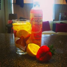 my favorite healthy sips- lemon and strawberry infused water or zero calorie sparking water