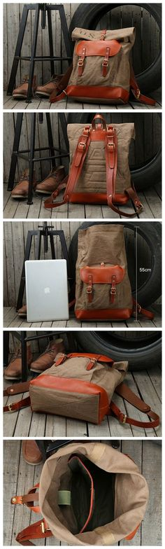 Waxed Canvas Leather Travel Backpack School Backpack Hiking Rucksack