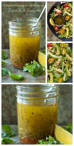 This Lemon Herb Vinaigrette is my go-to salad dressing. You will always find a jar in my refridg, as it goes with a zillion different salads. Omit canola oil and add ACV Healthy Salads, Healthy Eating, Healthy Recipes, Taco Salads, Sauce Recipes, Cooking Recipes, Cooking Tips, Different Salads, Lemon Herb