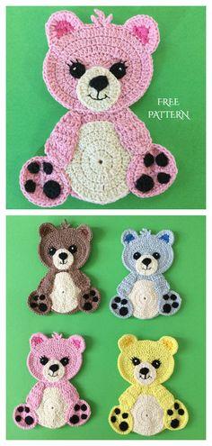 Teddy Bear Applique Free Crochet Patterns Crochet Applique Patterns Free, Crochet Motifs, Crochet Animal Patterns, Crochet Blanket Patterns, Crochet Appliques, Felt Applique, Beau Crochet, Crochet Baby, Crochet Crafts