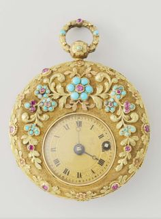 Watch with flowers,  gold, turquoise, ruby, enamel and glass, d 4.5 cm. Switzerland, circa 1830.