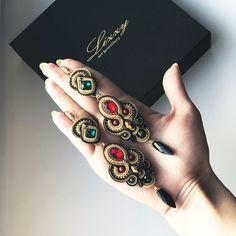 Jewelry Art, Antique Jewelry, Vintage Jewelry, Jewelry Design, Boho Jewelry, Soutache Earrings, Ring Earrings, Tassel Earrings, Beaded Necklace