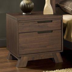 Portland Solid Wood Nightstand - Medium Walnut - 7Z4881