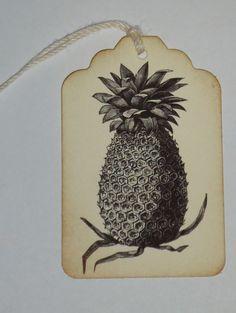 Pineapple Handmade Gift Wish Wedding Tag 6 Pieces by hazeleyyes, $4.00
