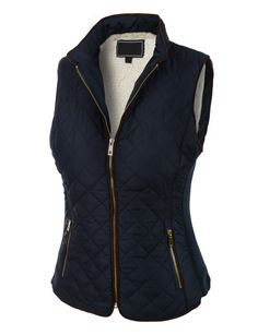 This lightweight quilted brush fleece jacket vest with pockets is the essential piece you must have! Its inner brushed fleece will give you all the comfort and fleece you need. This zip up jacket is perfect for day or night. Every women should have this jacket in there closet. Feature 100% Polyester Lightweight, soft inner brushed fleece material for warmth and comfort / Stand collar for style Full zip up closure / Gold detail on zippers for style / Ribbed side panels Two zip-u...
