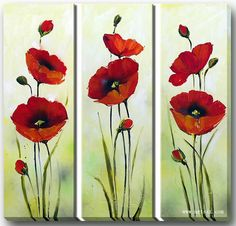 Hand Painted Oil Painting Floral Red Flower with Stretched Frame Set of 3 – USD… Oil Painting Flowers, Watercolor Flowers, Silk Painting, Pallet Painting, Arte Floral, Acrylic Art, Pictures To Paint, Red Flowers, Flower Art