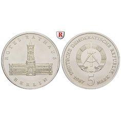 DDR, 5 Mark 1987, Rotes Rathaus, st, J. 1614: Kupfer-Nickel-5 Mark 1987. Rotes Rathaus. J. 1614; stempelfrisch 5,50€ #coins