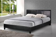 https://www.corstorphinebedcentre.co.uk/collections/beds/products/berlin-135cm  -  The Bed Shop. The Berlin is a simple style frame upholstered in black faux leather with dark feet to compliment the dark faux leather.