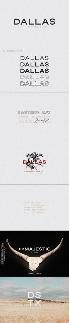 Dallas   A Vintage Sans #logo #handpainted #font #badge #vintage #truetypefont #bold #jenwagner #portfolio #magazine #font #jenwagner #socialmedia #midcentury #retro #opentypefont #fashion #VintageFonts #minimalfont Truetype Fonts, Minimal Font, Vintage Fonts, Brush Font, Wine Label, Sans Serif, Printed Materials, Letters And Numbers, Minimal Fashion