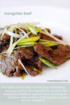 "Mongolian Beef Recipe with tender and silky smooth beef and a lip-smackingly good savory sauce. Learn how to marinate and ""velvet"" the beef for the tender texture and unlock the secret to the Chinese sauce with this easy recipe. http://rasamalaysia.com"