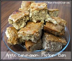 Apple Cinnamon Protein Bars. Great for breakfast or snack and wont mess up your diet.