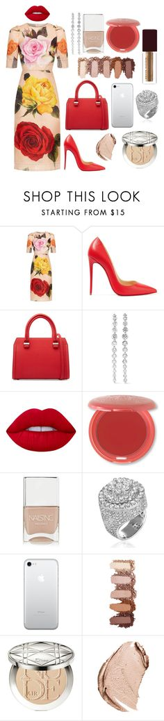 """""""Roses are red, violets are blue, I never met someone as beautiful as you"""" by theodor44444 ❤ liked on Polyvore featuring Dolce&Gabbana, Christian Louboutin, Victoria Beckham, Anita Ko, Lime Crime, Stila, Nails Inc., Christian Dior and Kevyn Aucoin"""
