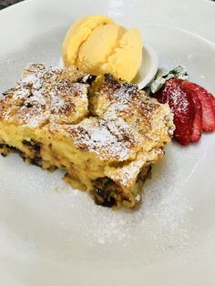 Warm from the oven homemade chocolate bread and butter pudding