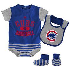 Get this Chicago Cubs Newborn Baseball Property Bodysuit, Bootie & Bib Set at WrigleyvilleSports.com
