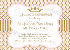 Pink and Gold Glitter Princess Baby Shower by PartyPopInvites, $17.00
