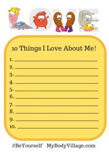 10 Things I Love About Me Worksheet. Take a few minutes to write down all the amazing, awesome and great things you love about yourself!