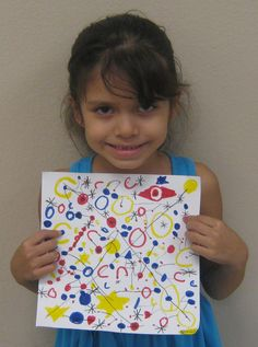 First Graders learned about organic shapes, lines, primary colors through Miro's work.