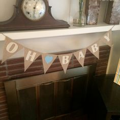 Oh Baby Banner, Boy Baby Shower, It's a Boy, Bunting, Burlap