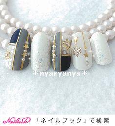 Classy Nail Designs, Blue Nail Designs, Pretty Nail Designs, Classy Acrylic Nails, Classy Nails, Stylish Nails, Asian Nail Art, Asian Nails, Japanese Nail Design