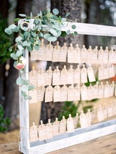 Clothespin escort cards: http://www.stylemepretty.com/california-weddings/lake-tahoe-ca/2016/02/01/whimsical-al-fresco-lake-tahoe-wedding-at-the-hideout-inn/ | Photography: Coco Tran - http://www.cocotran.com/