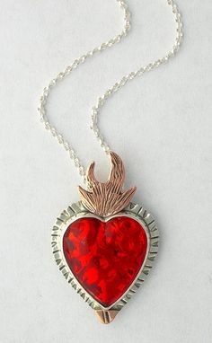 Flaming Heart Necklace Sacred Heart Necklace by GlassEnamelbyJulie, $110.00
